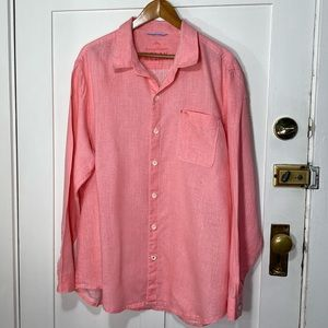 Tommy Bahama Relax Salmon Pink Button Down Linen